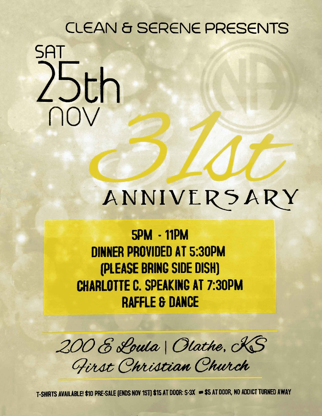 C&S 31st Anniversary, Nov 25th, 2017 – Kansas City NA